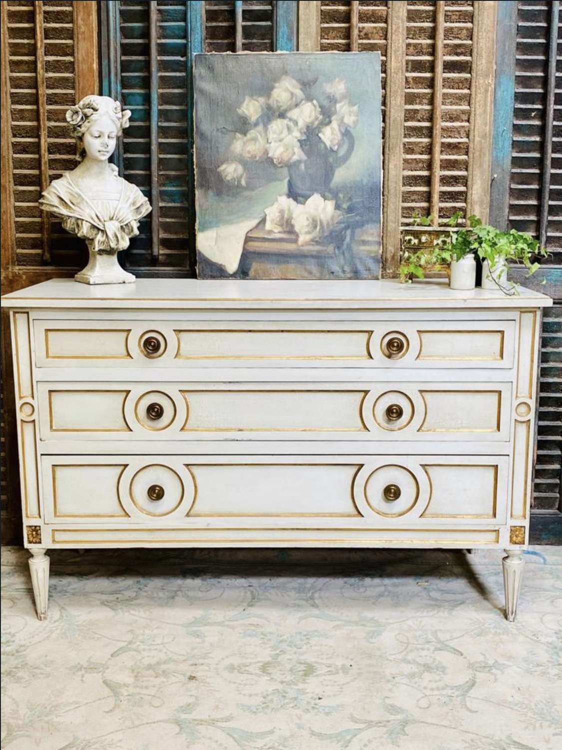 Vintage empire style french chest of drawers