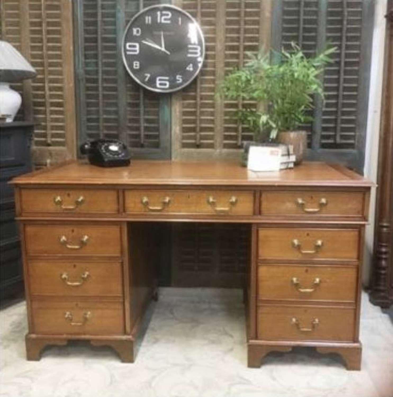 Vintage Oak Pedestal Desk