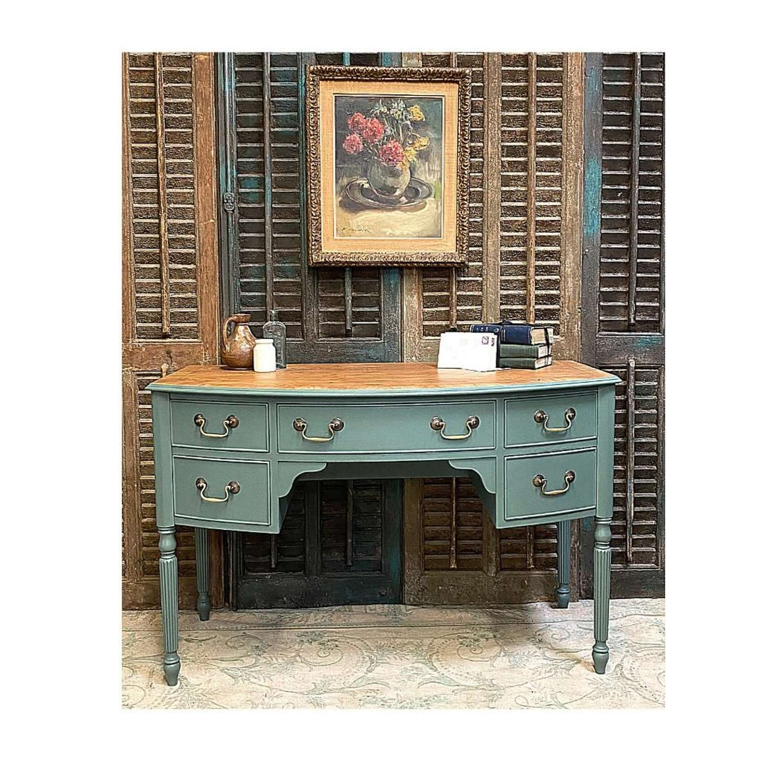 Bow front desk / dressing table