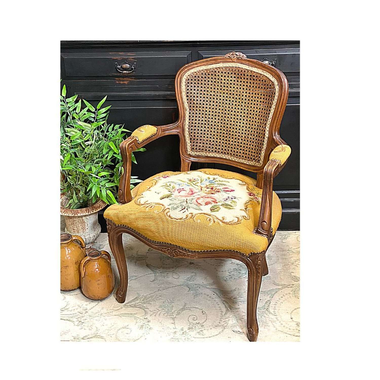 French mid century chair with beautiful tapestry seat