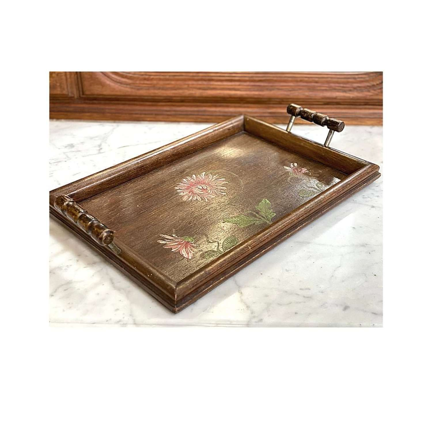 Vintage hand painted tray 32cm x 22cm