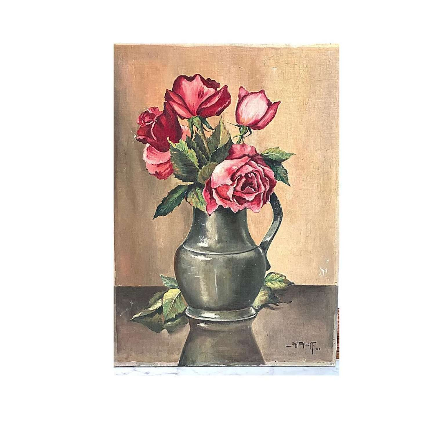 Unframed, signed Oil on canvas Roses in Pewter Jun 1938