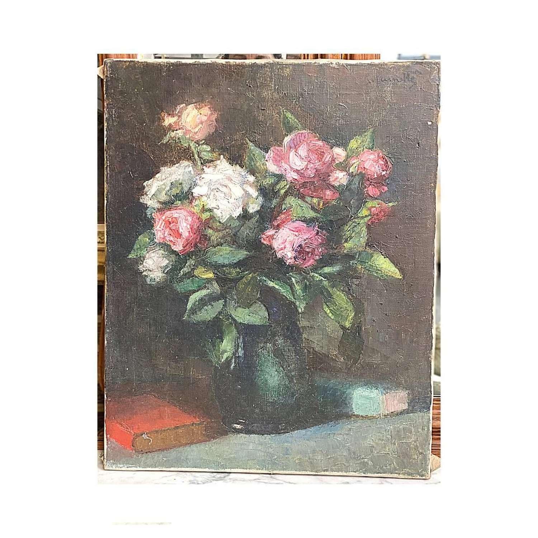 Unframed, signed vintage oil on canvas