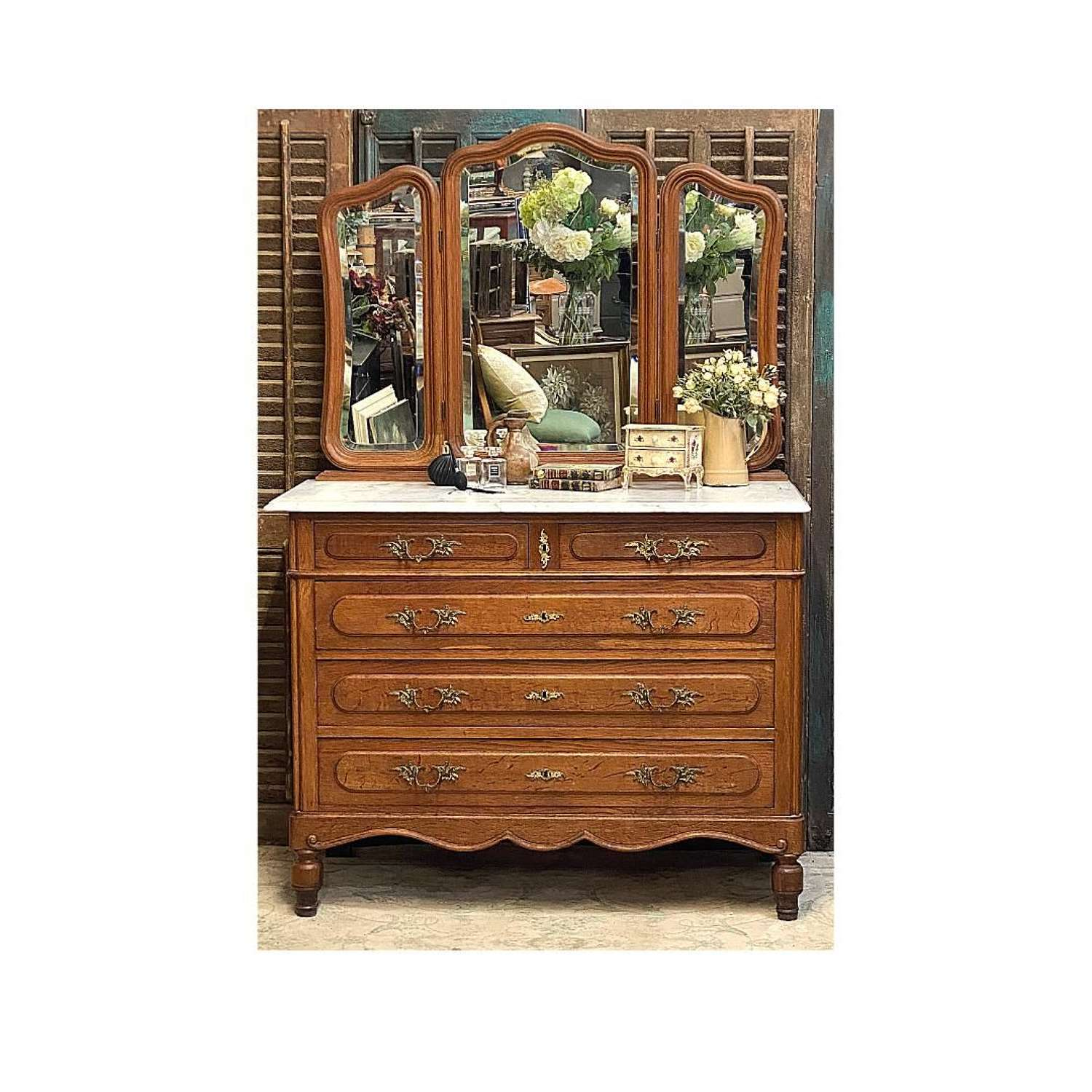French marble top oak chest of drawers with triple mirror