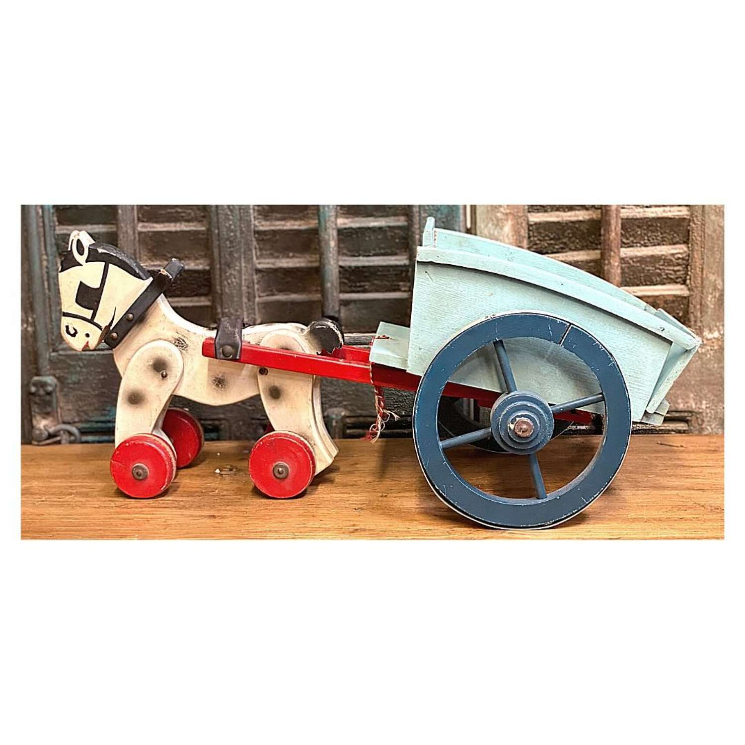 1950's Vintage Wooden Horse and Cart