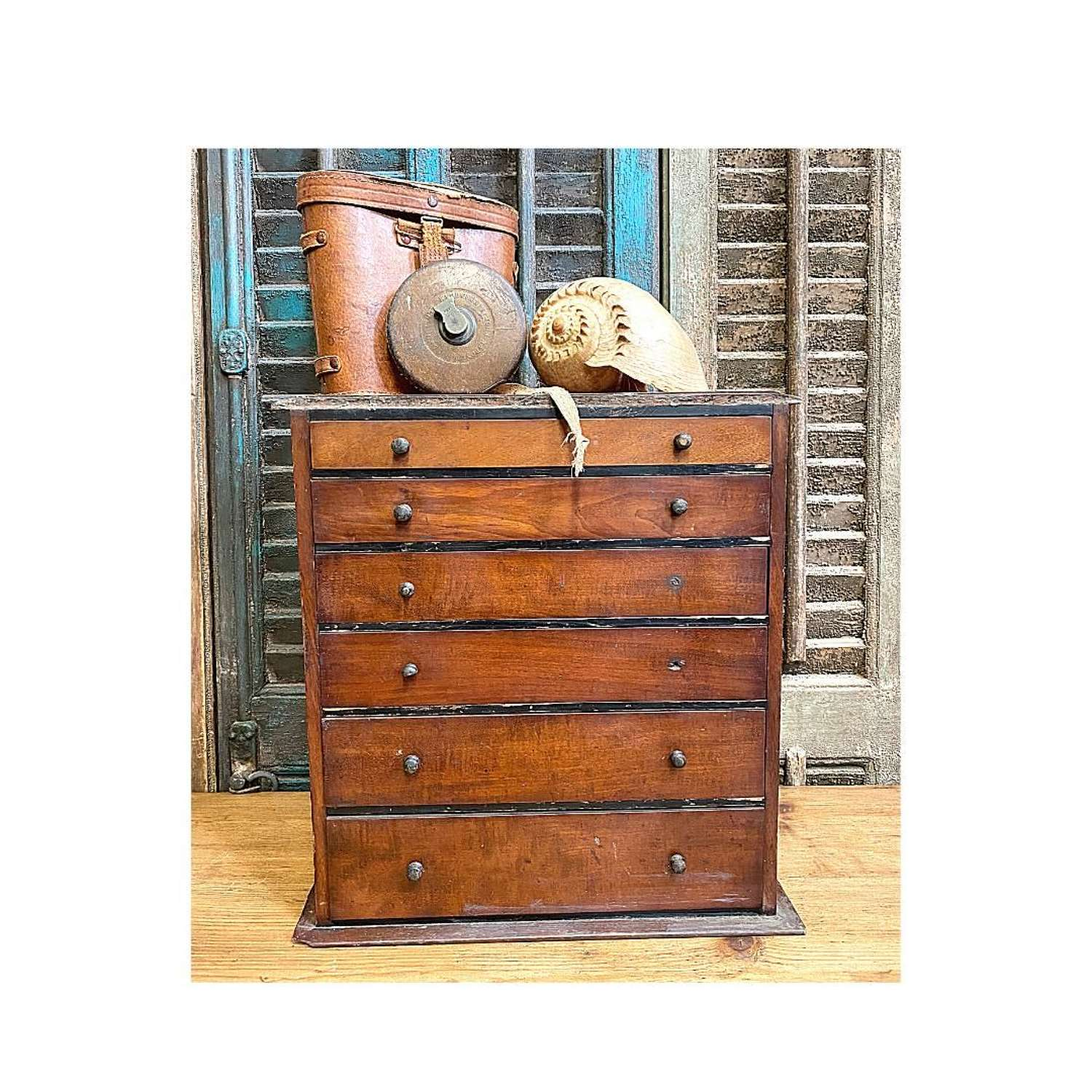 19th century 6 drawer collectors chest