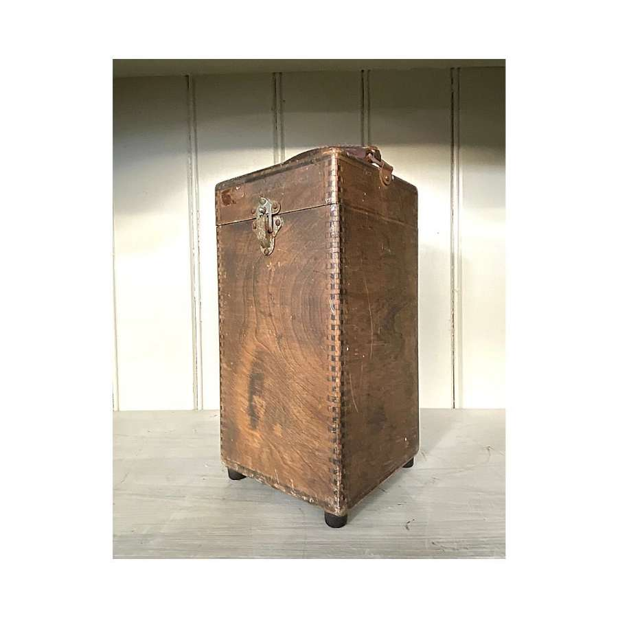 Vintage wooden box with leather carry handle