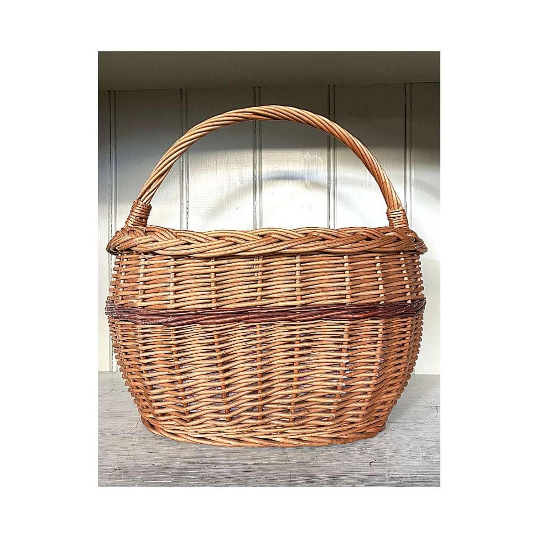 Vintage lined wicker basket