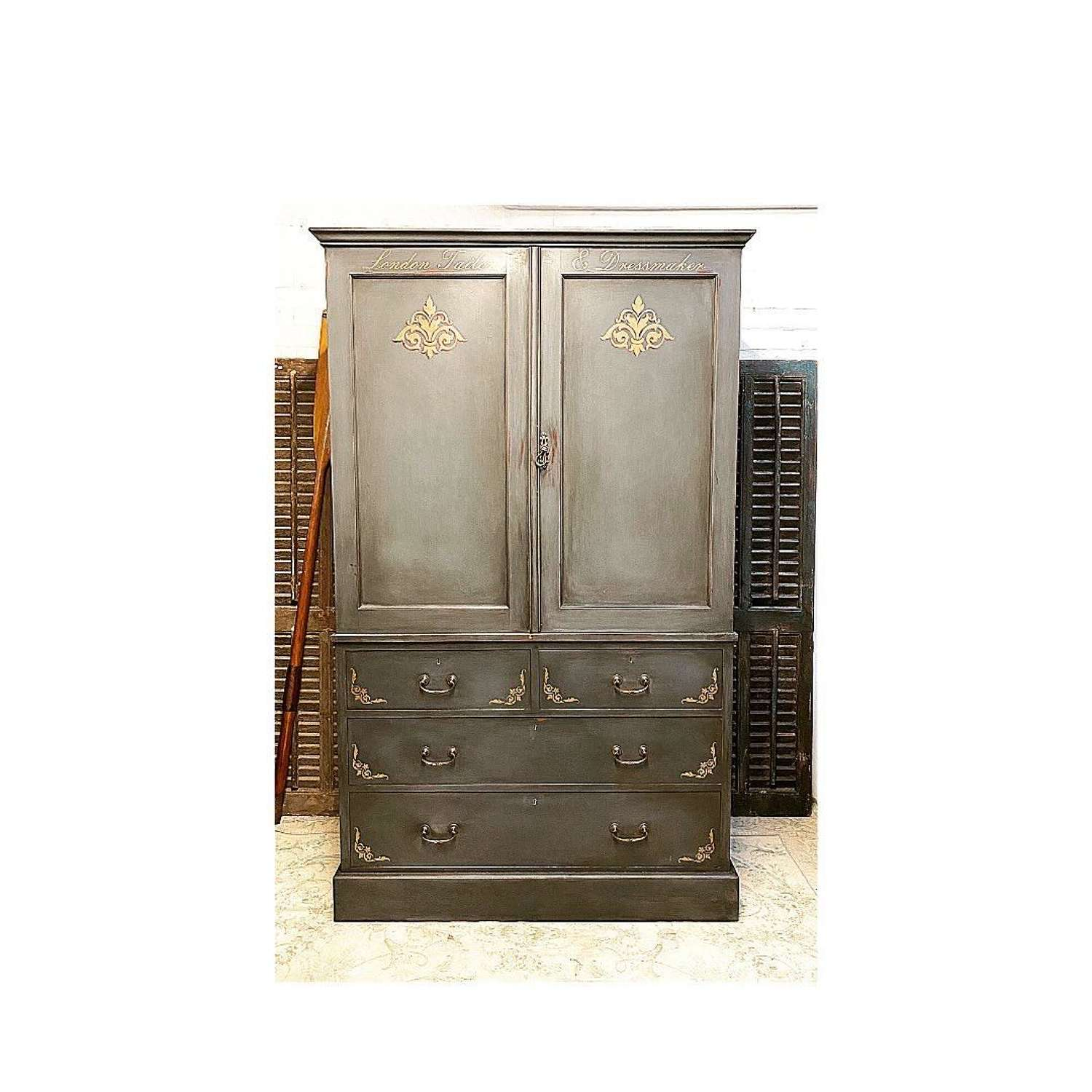 Victorian linen press. Painted and sign written for a modern yet sym