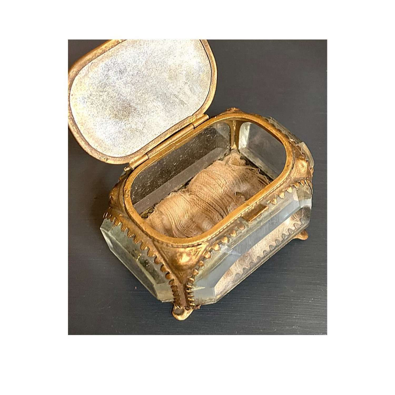 Antique French glass trinket box