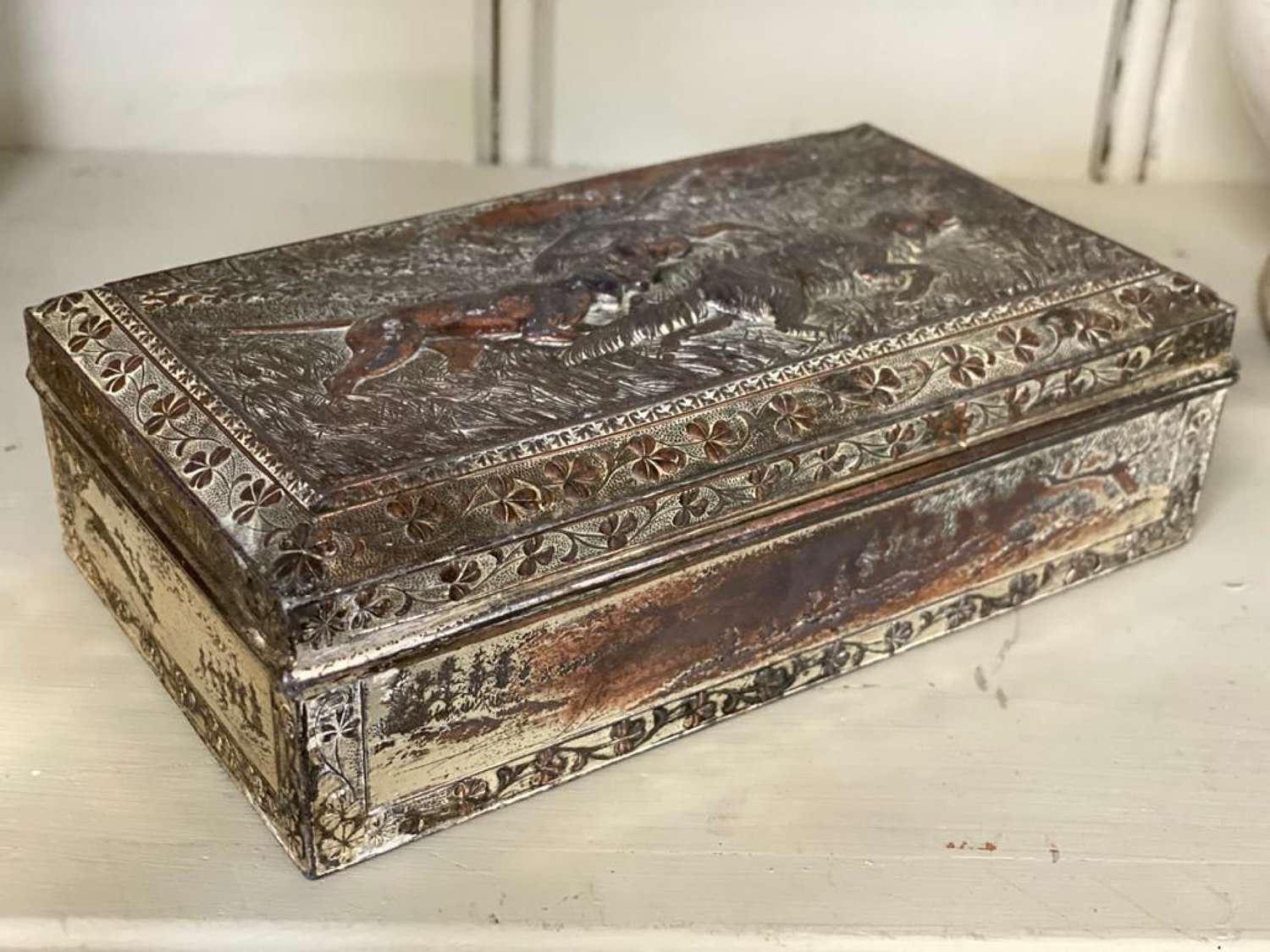 Cedar lined metal box with hounds
