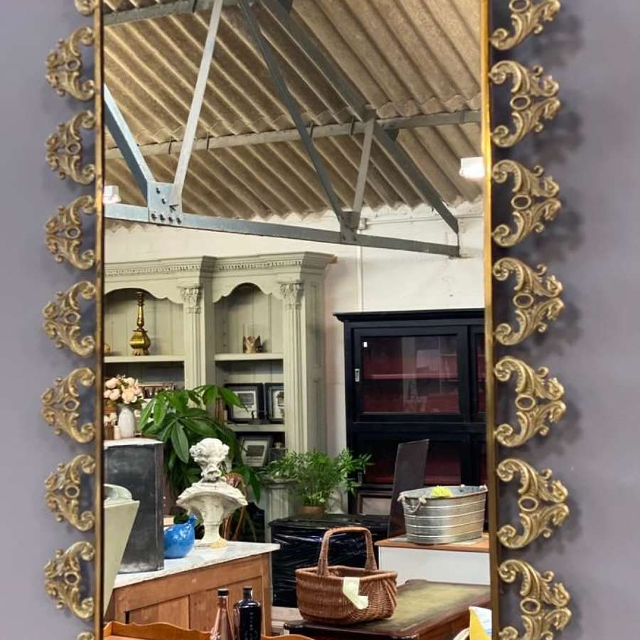 Mid century metal frame mirror ( small chip )