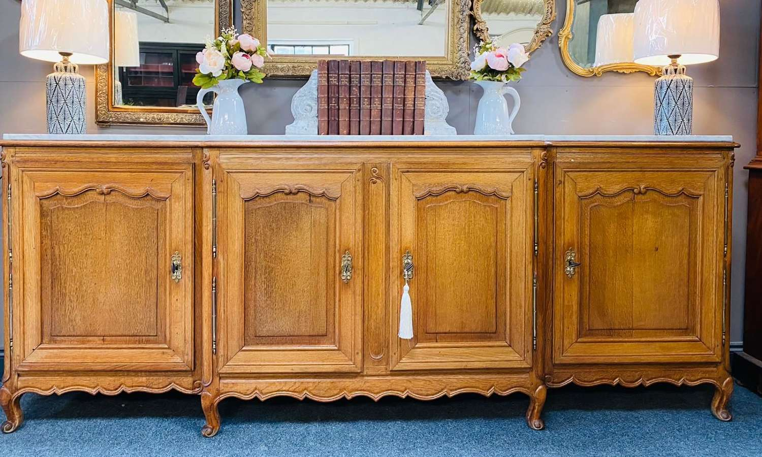 Antique French oak sideboard with white Carrara marble top