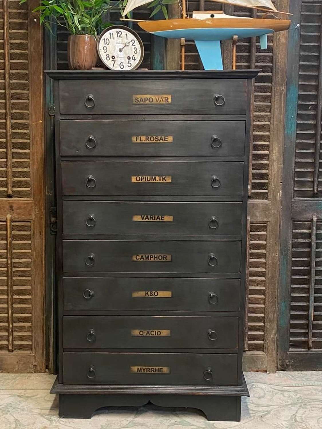 Apothecary style tall chest of 8 drawers