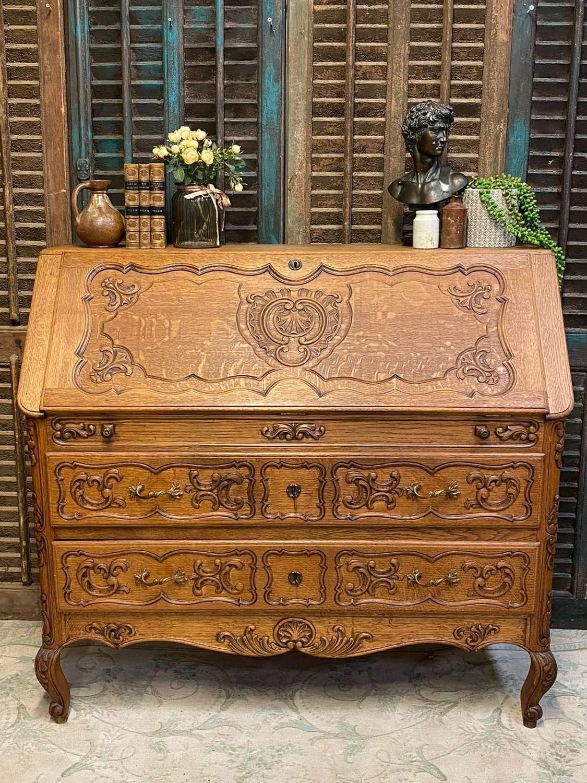 Vintage french oak bureau, inc pain