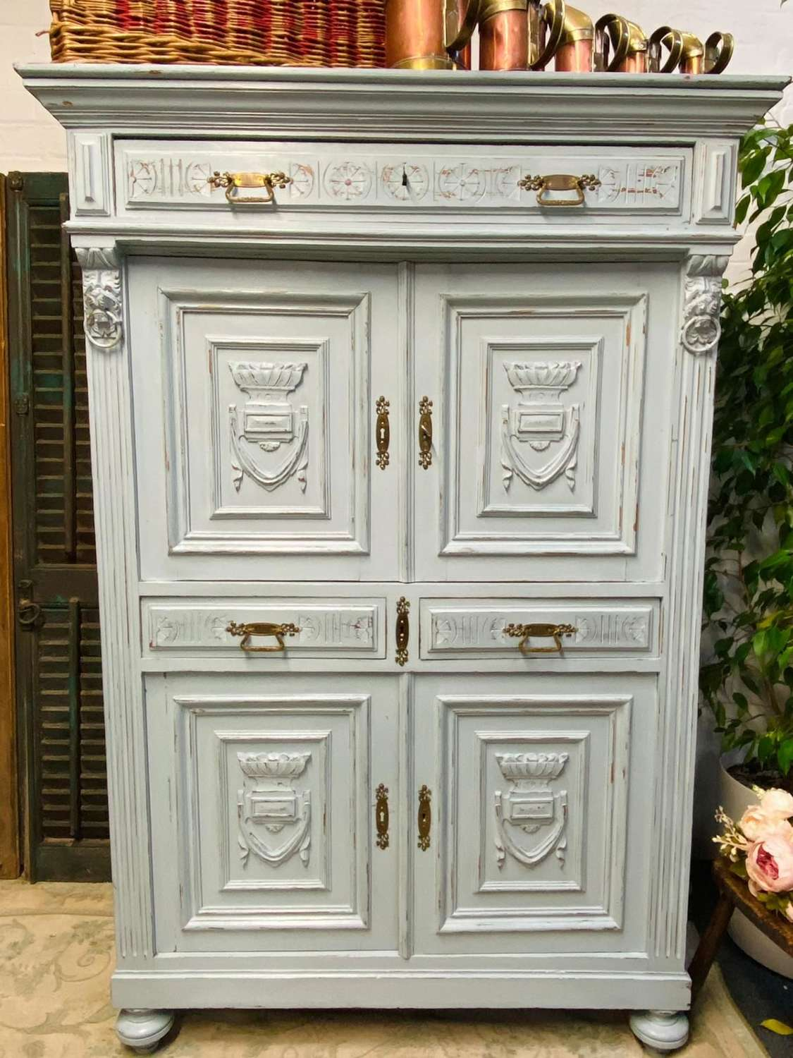 Lions head Carved french oak kitchen cupboard