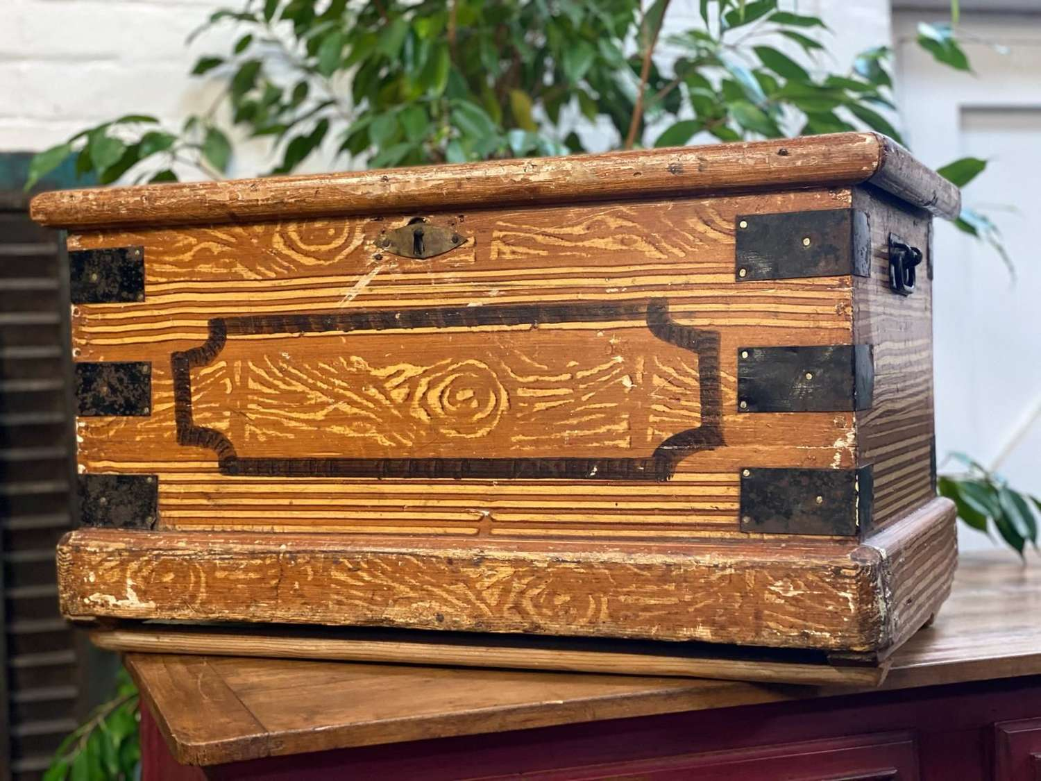 Paper lined Victorian trunk with original paint