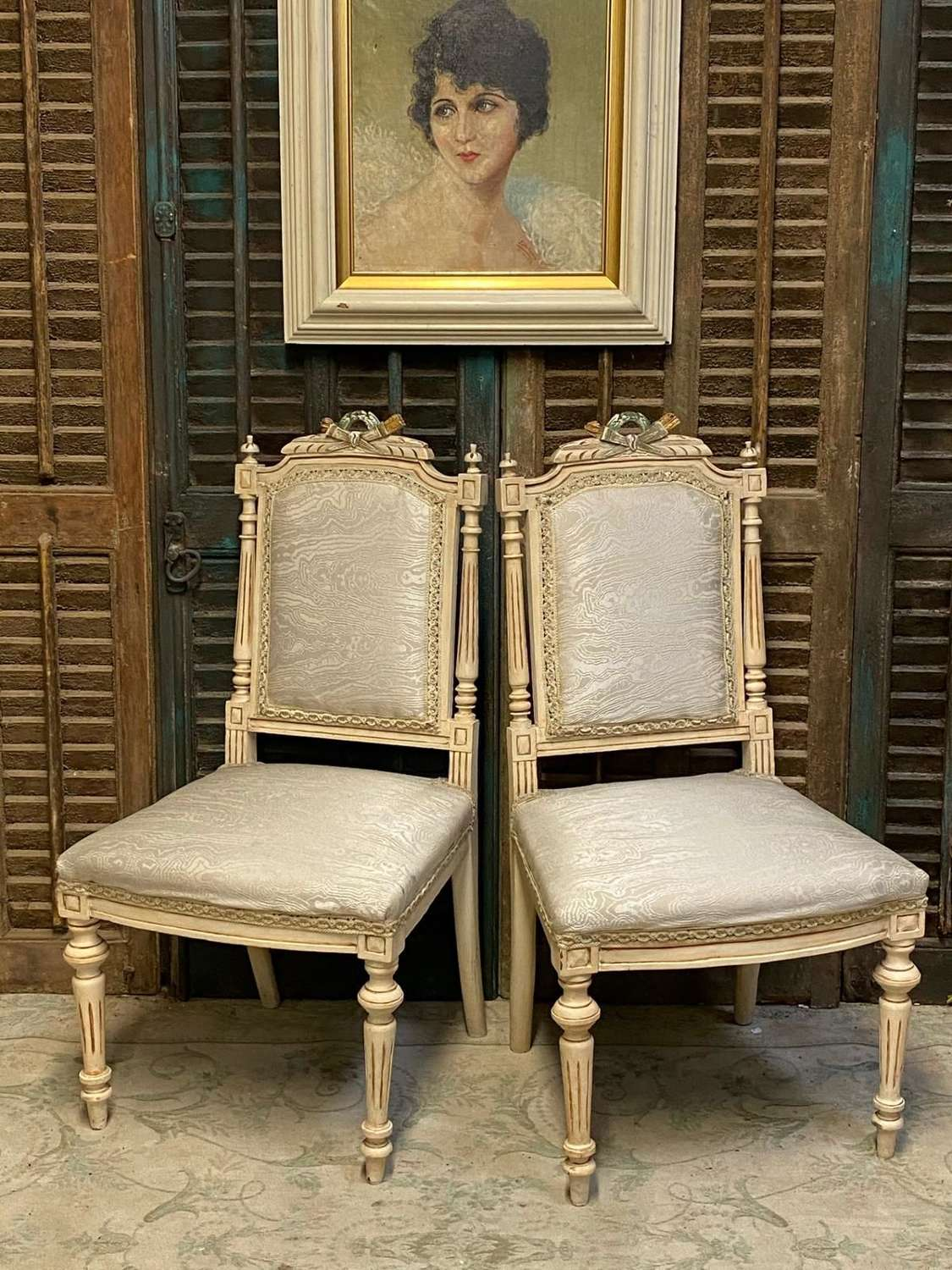 Pair of french Ivory bedroom chairs