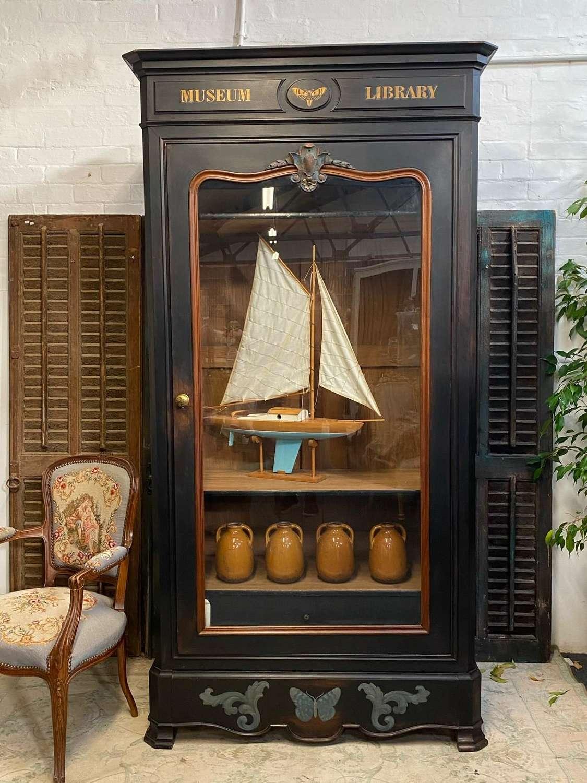 Large french glazed bookcase - adjustable shelves