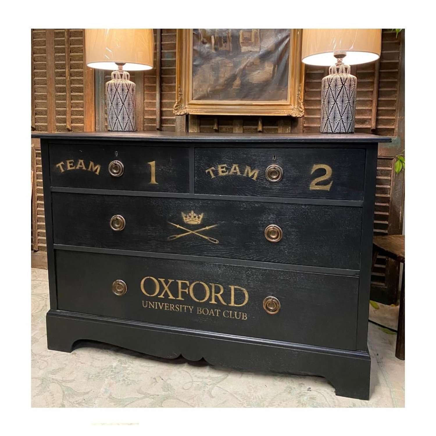 Beautiful Oxford University Boat Club chest of drawers