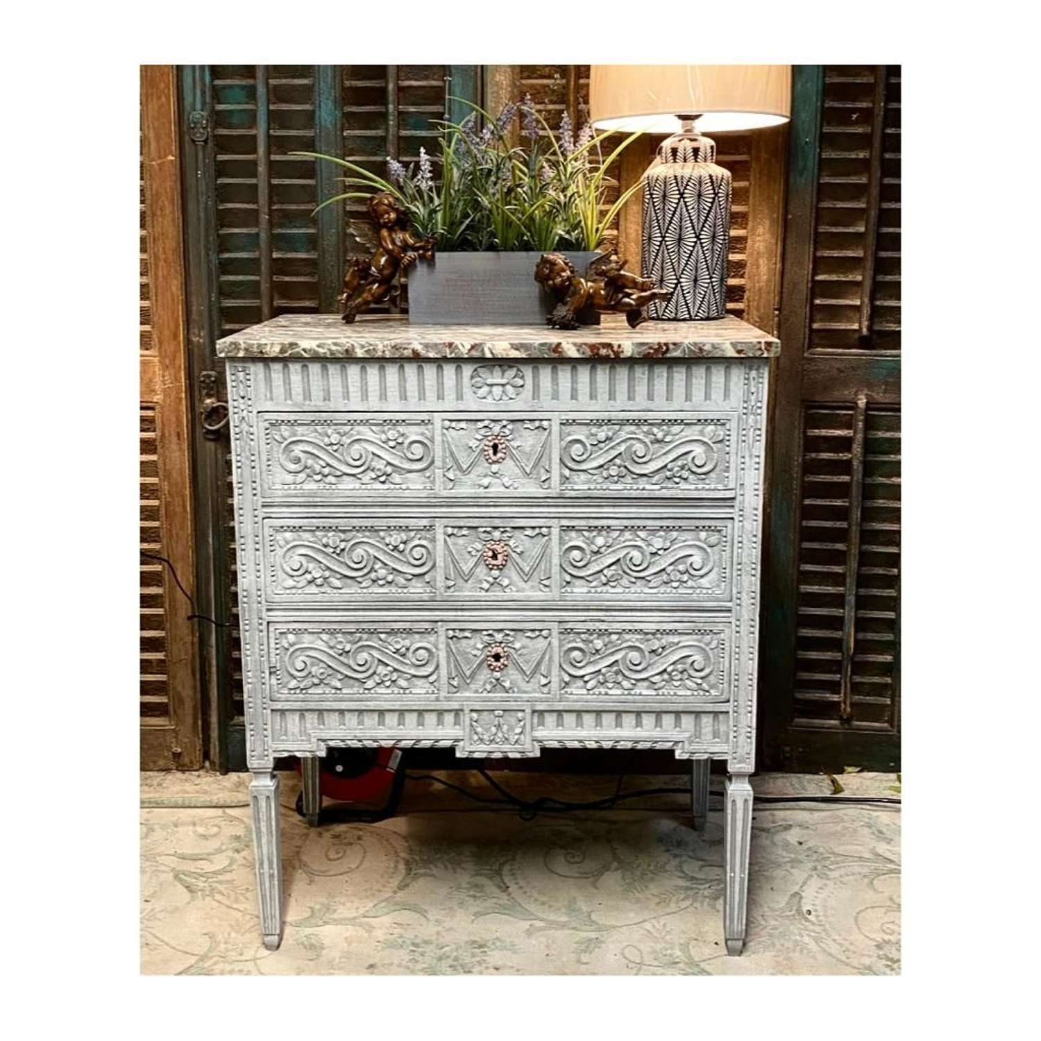 Carved painted french 3 drawer chest with marble top