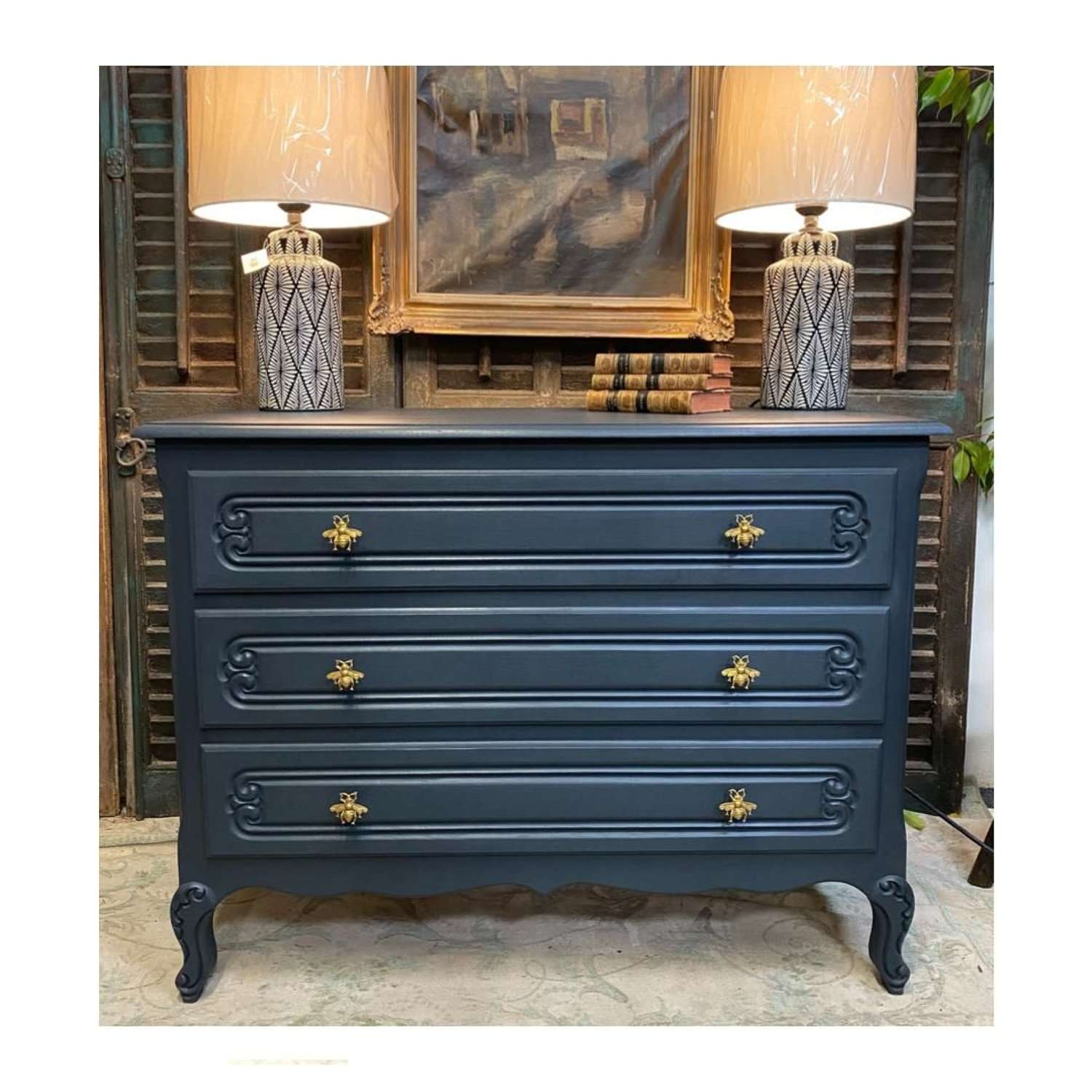 French chest of drawers painted in railings with bumblebee handles