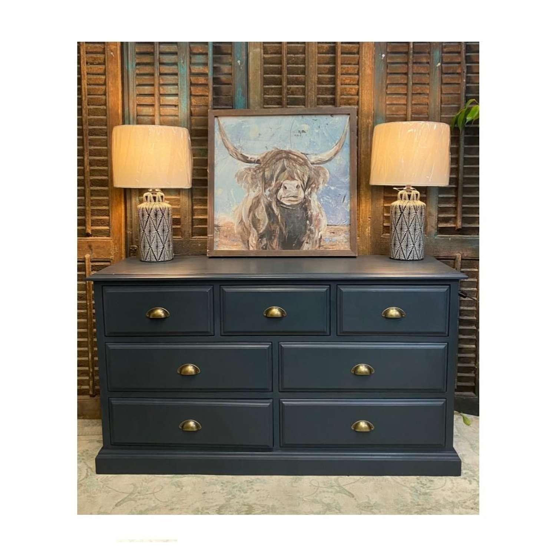 7 drawer merchants chest painted in farrow & ball railings