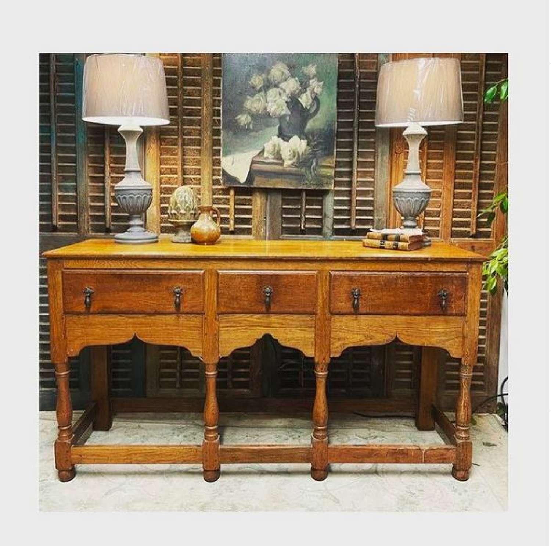 Antique oak dresser base