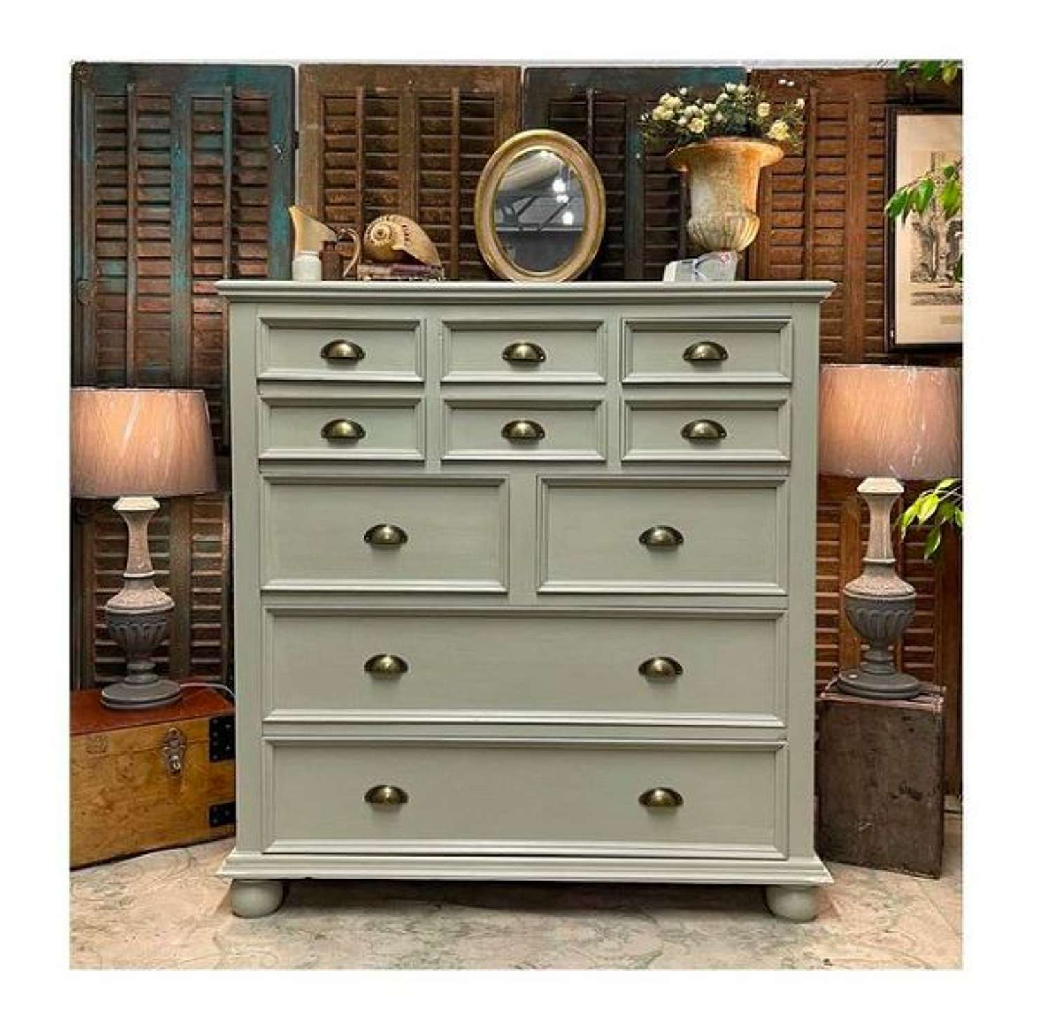 Chest of drawers painted in Pebble Grey