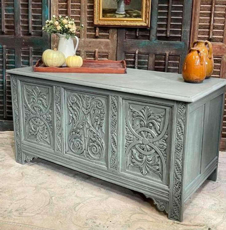Vintage Oak Coffer  Carved panels and Hinged lid