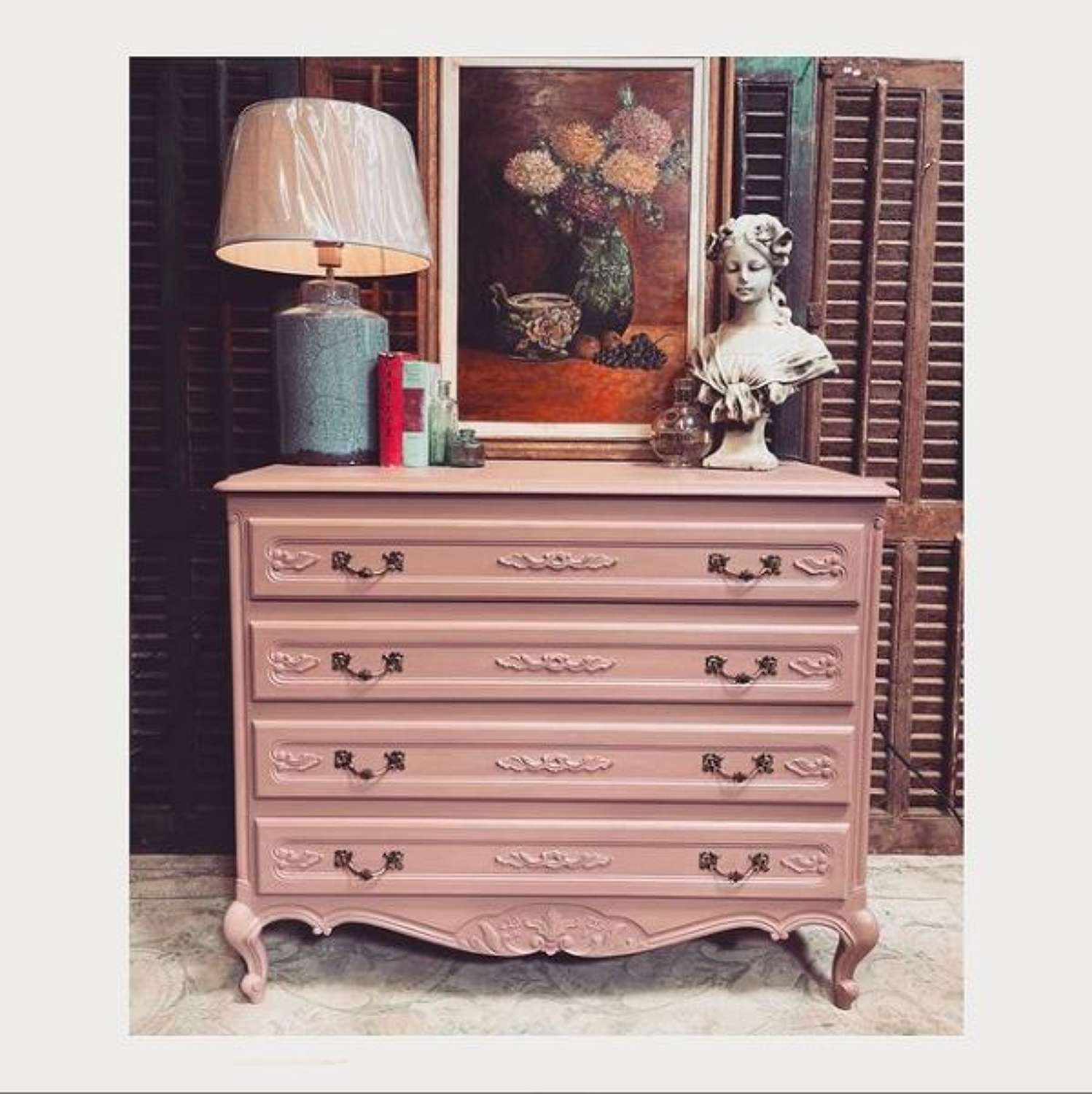 Farrow and Ball sulking room pink dressing this gorgeous French chest