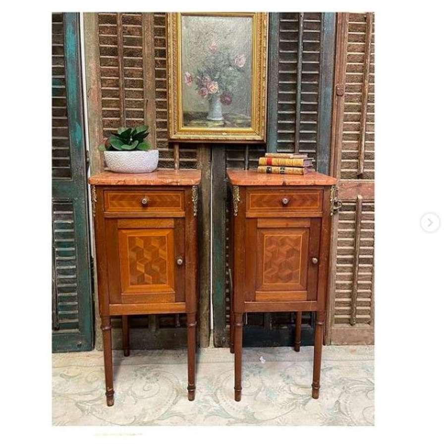 French antique nightstands or bedside tables