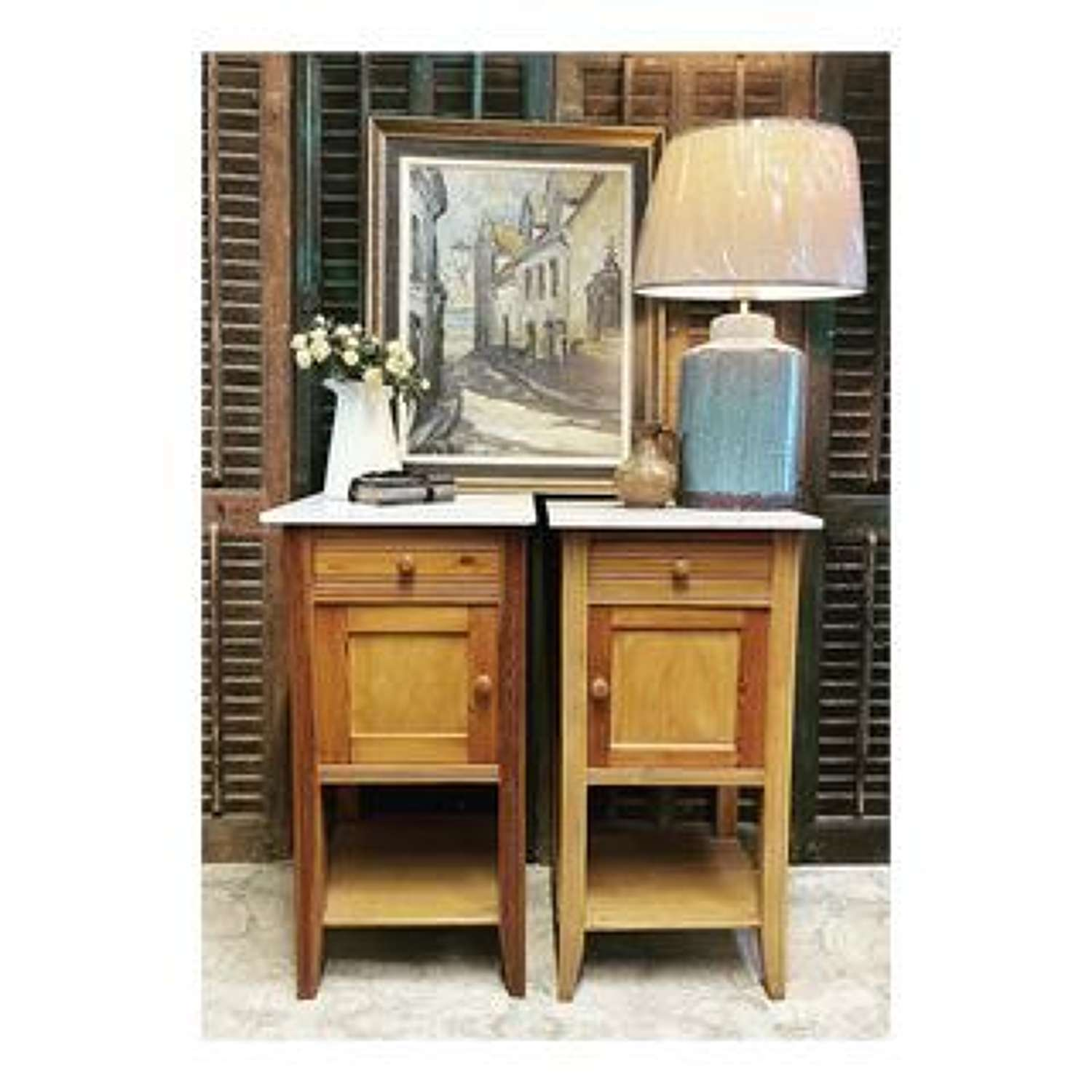 Marble top bedside tables